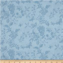 "108"" Wide Quilt Back Floral Butterfly Light Blue"