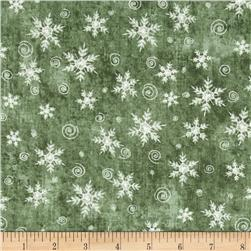 Christmas Whimsy Snowflakes Green