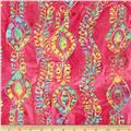 Embroidered Indian Batiks Aztec Stripe Pink