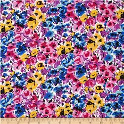 Rayon Challis Ditzy Floral Yellow/Blue/Rose/Violet Fabric