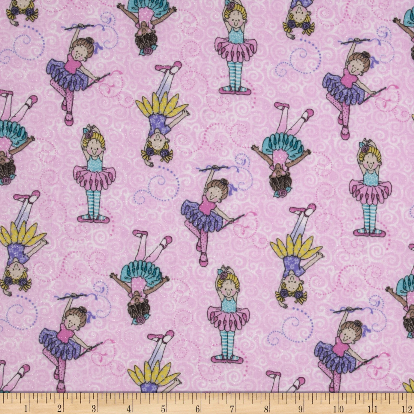 Tippy Toes Glitter Tossed Ballerinas Pink Fabric