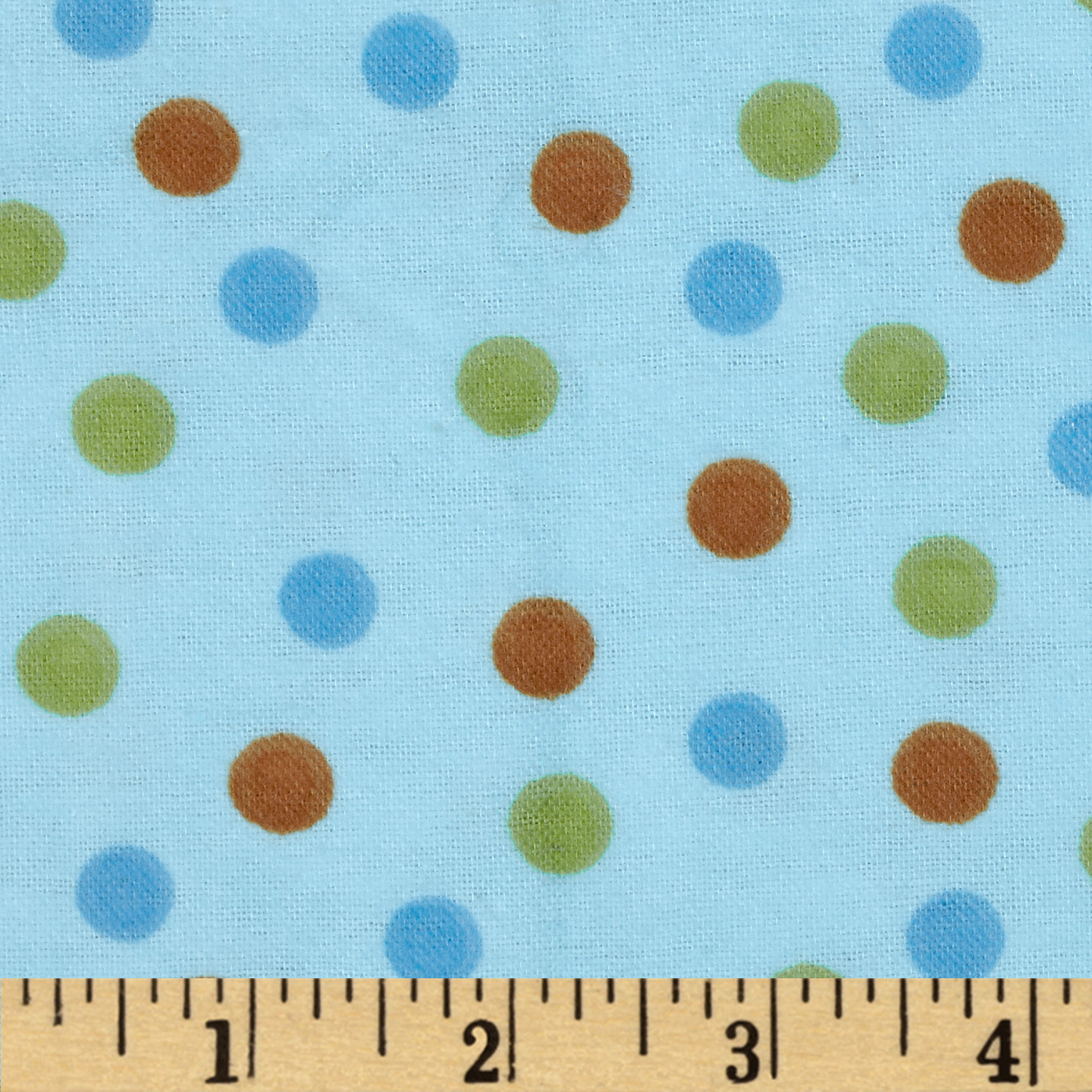 Aunt Polly's Flannel Medium Polka Dot Blue/Multi Fabric