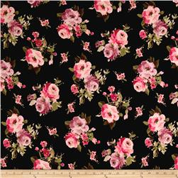 Double Brushed Jersey Knit Milana Large Flowers Black