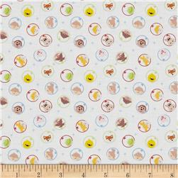 Space Age Tossed Astronauts White Fabric
