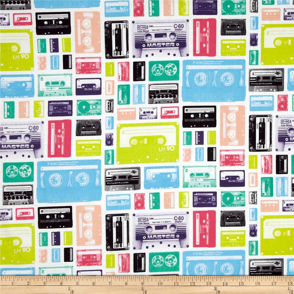 Riley Blake Geekly Chic Cassettes White