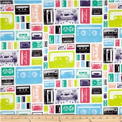 Riley Blake Geekly Chic Cassettes White Fabric
