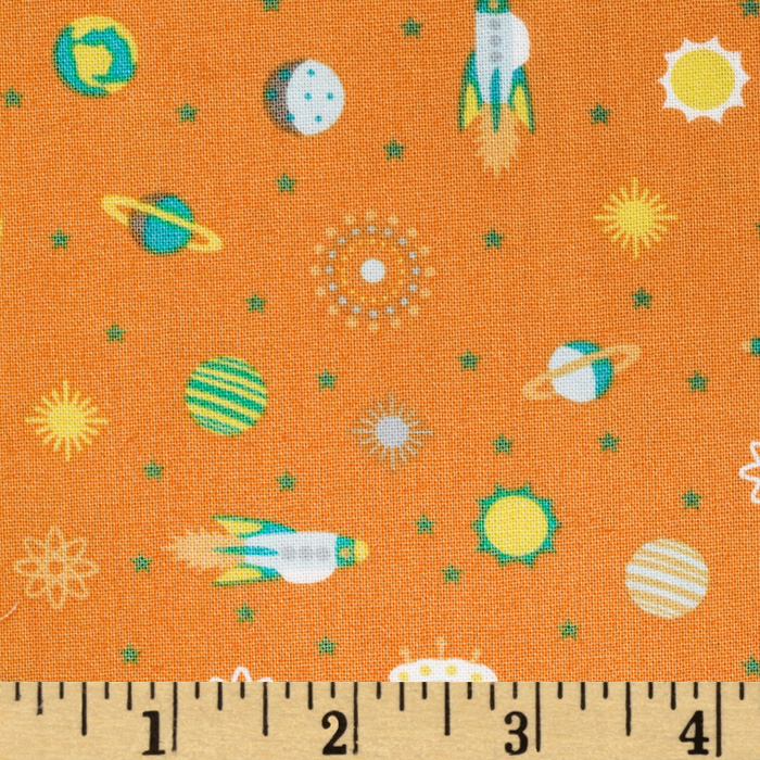 Atomic Bots Tiny Ships Orange Fabric