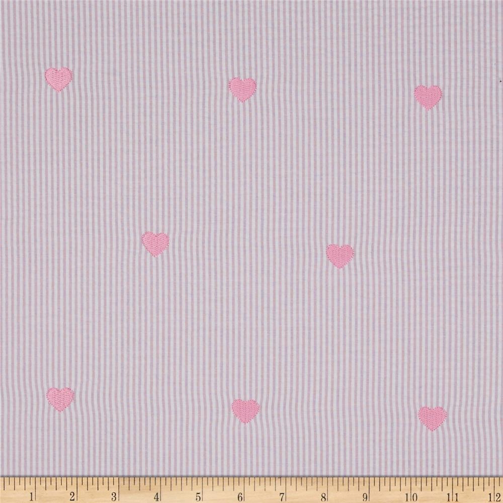 Embroidered Seersucker Hearts Pink/White