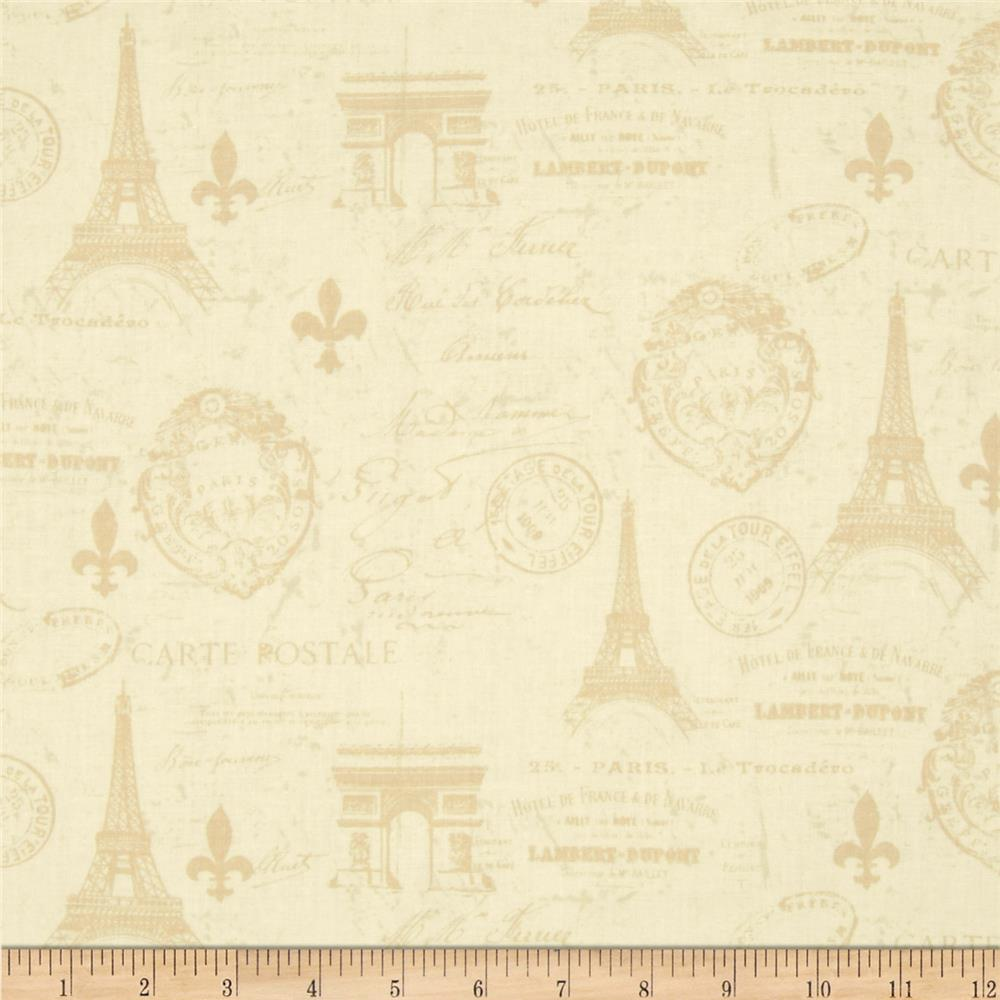 from paris with love carte postale allover ivory discount designer fabric. Black Bedroom Furniture Sets. Home Design Ideas