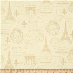 From Paris with Love Carte Postale Allover Ivory