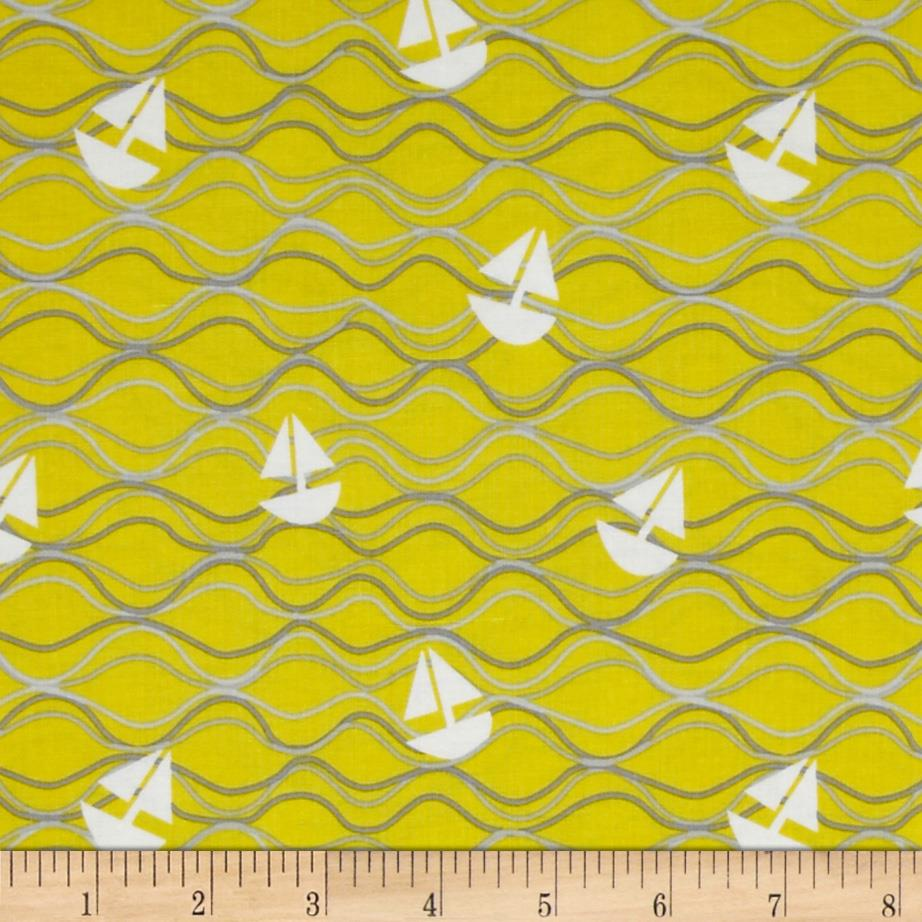 Riley Blake Maritime Modern Come About Tossed Ships Citron