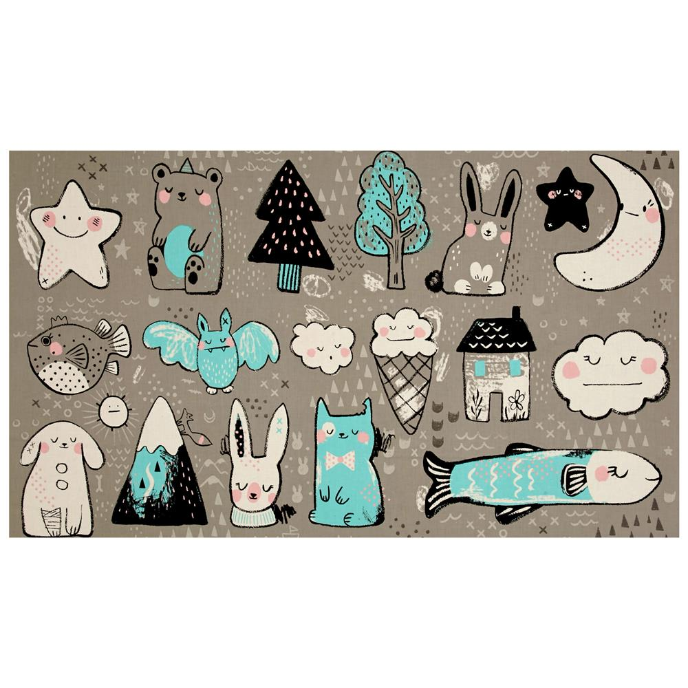 Cotton + Steel Sleep Tight Toys 23'' Panel Grey Fabric By The Yard