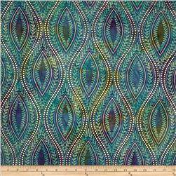 Indian Batik Tribal Medallion Metallic Blue/Purple
