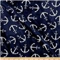 Shannon Minky Cuddle Prints Anchors Navy