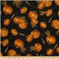 Autumn Glow Metallic Tossed Pumpkins & Wheat Black