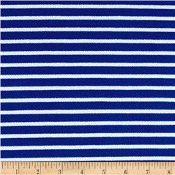 Liverpool Double Knit Print Stripes Royal/White
