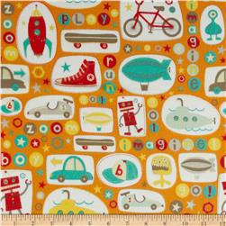Riley Blake Boy Crazy Flannel Main Orange Fabric