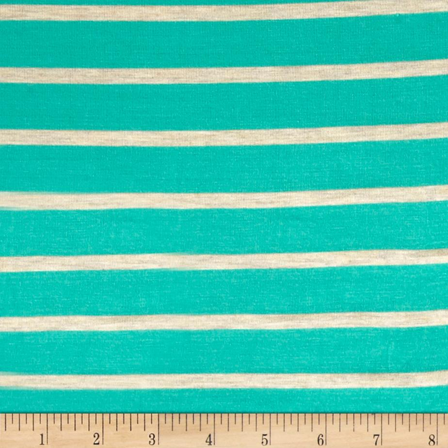 Wide Lanes 1'' Stripe Rayon Jersey Knit Turquoise/Oatmeal Fabric