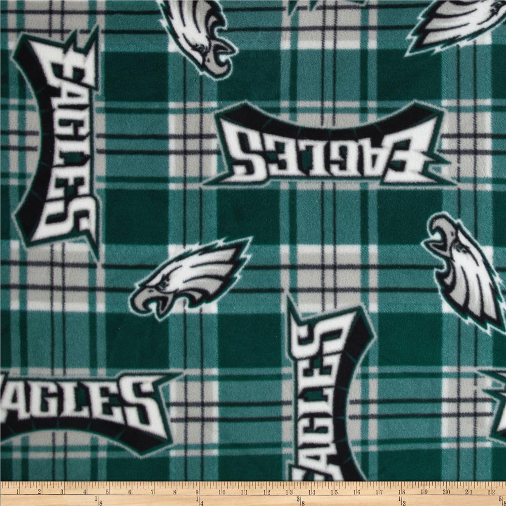 NFL Fleece Plaid Philadelphia Eagles Green Fabric