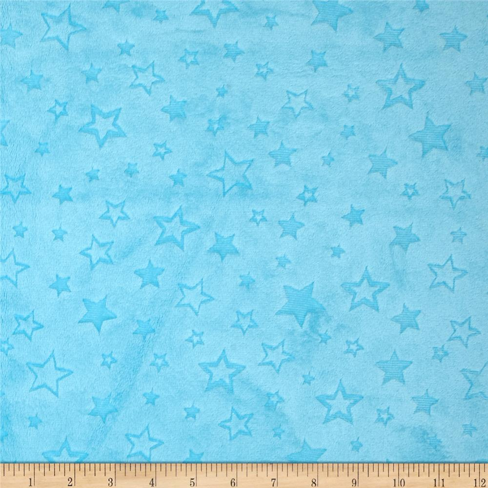 Shannon minky embossed star cuddle turquoise discount for Star design fabric