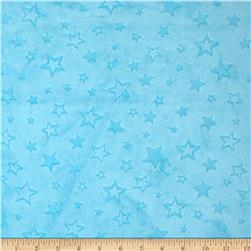 Minky Embossed Star Cuddle Turquoise