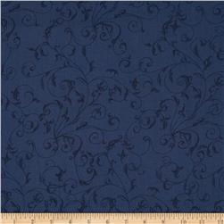 110 In. Wide Quilt Back Filigree Navy