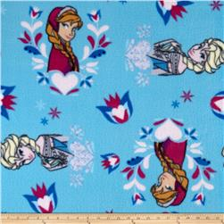 Disney Frozen Fleece Princess Hearts & Flowers Blue