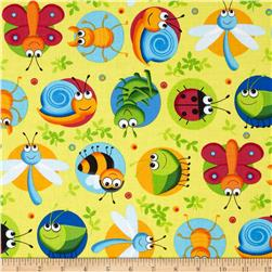 Timeless Treasures Happy Bugs Bugs on Dots Yellow