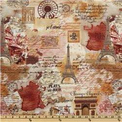 Timeless Treasures April In Paris Collage Sepia