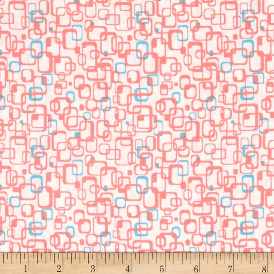 Graphix 3 Link Squares Peach/Blue Fabric By The Yard