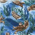 Timeless Treasures Sea Otters Blue