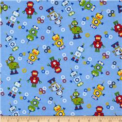 Comfy Flannel Tossed Robots Blue Fabric