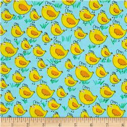 Kanvas Green Farms Chick Chick Chick Aqua Fabric
