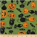 Scaredy Cats Cats on Pumpkins Green