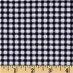 Telio Morocco Blues Stretch Cotton Shirting Gingham Print Navy/White