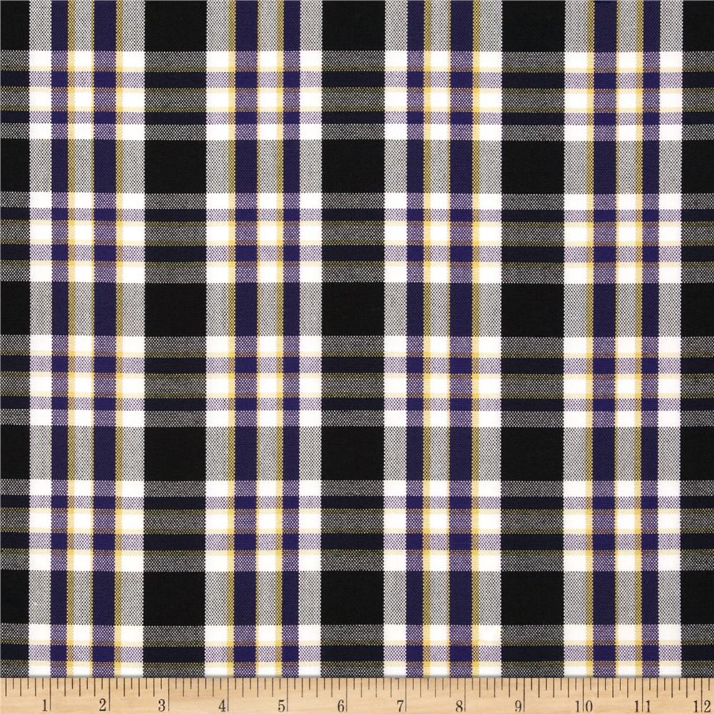 Polyester Uniform Plaid Black/White/Purple