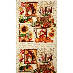 Clothworks Autumn Splendor Panel Leaves Cream