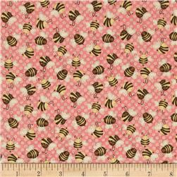 Let it Bee Bees Pink Fabric