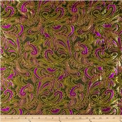 Metallic Brocade Floral Stems Purple