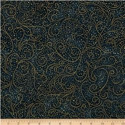 Lumina Metallic Dainty Swirls Teal