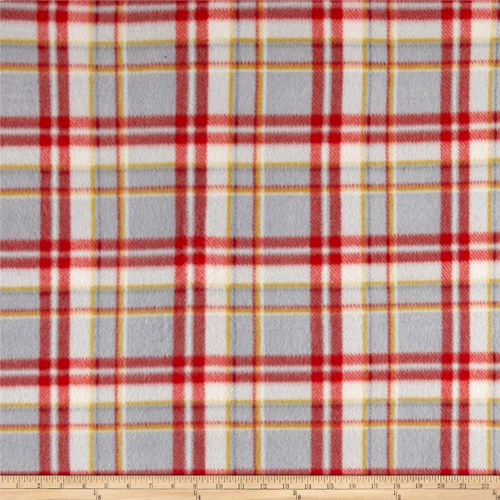 Polar Fleece Print Parson Plaid Black Red Grey Fabric