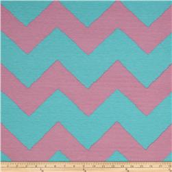 Fashionista Jersey Knit Large Chevron Aqua/Light Pink