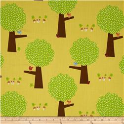 Giggle & Grow Trees Yellow Fabric