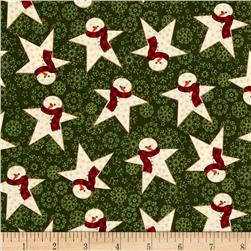 Wrapped In Joy Snowman Star Green