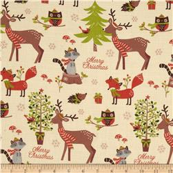 Woodland Christmas Animals & Tree's Cream
