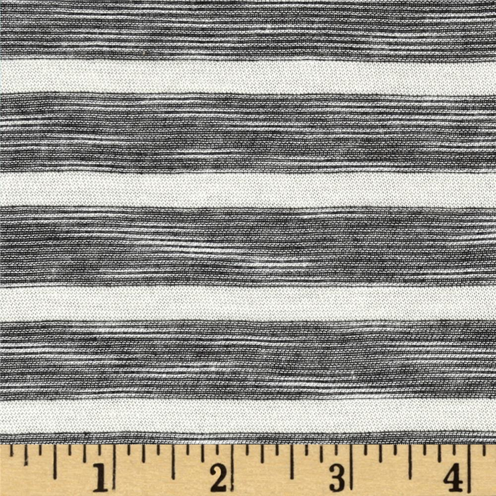 Designer Yarn Dyed Slub Jersey Knit Stripes Black/Off White