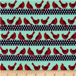 Holiday Sweet Tweets Bird Stripes Retro
