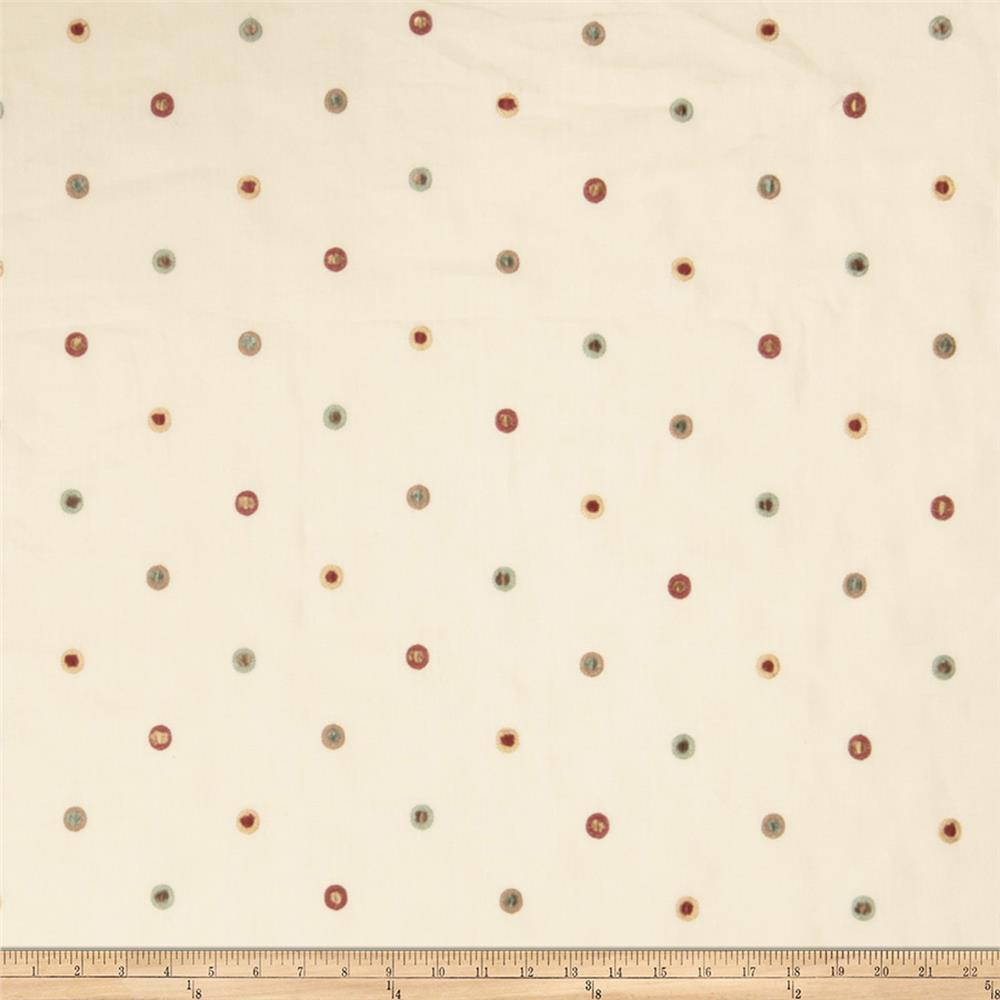 Fabricut Ajax Polka Dot Linen Blend Red Multi
