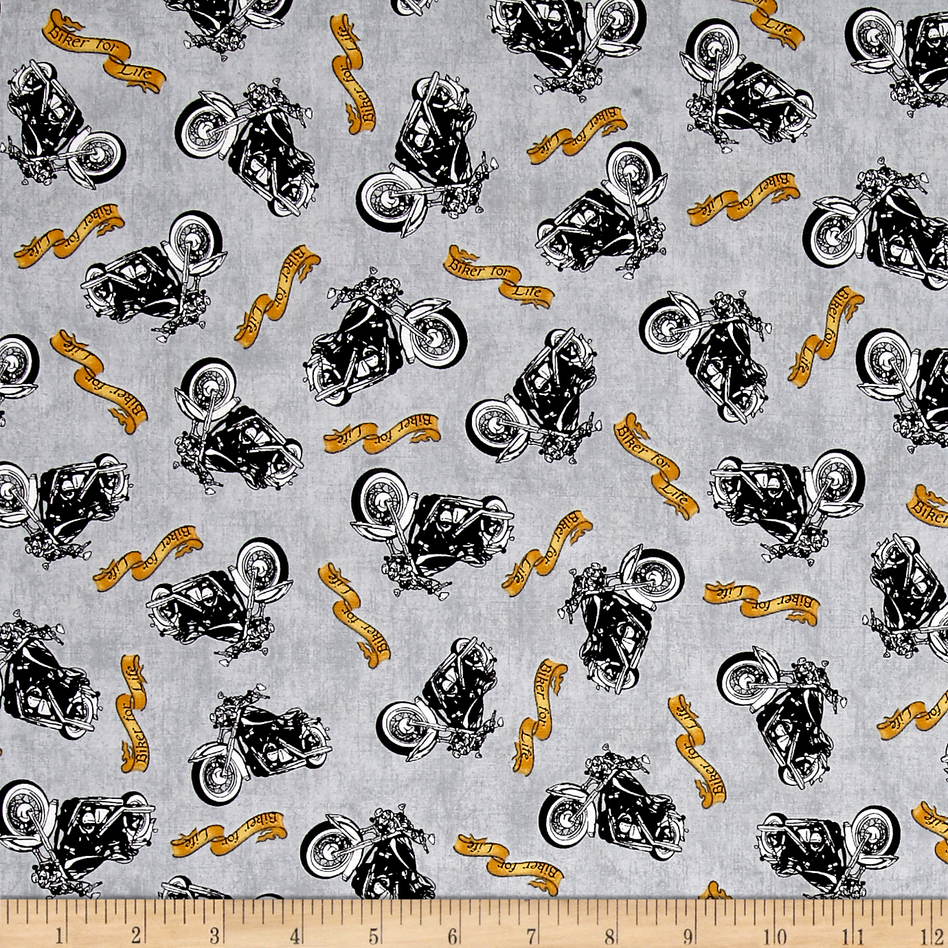 Image of Biker For Life Motorcycle Toss Gray Fabric