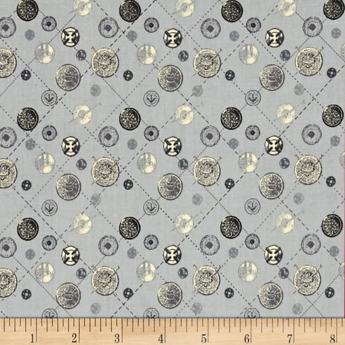 Vintage modern sewing toss grey discount designer fabric for Cheap sewing fabric